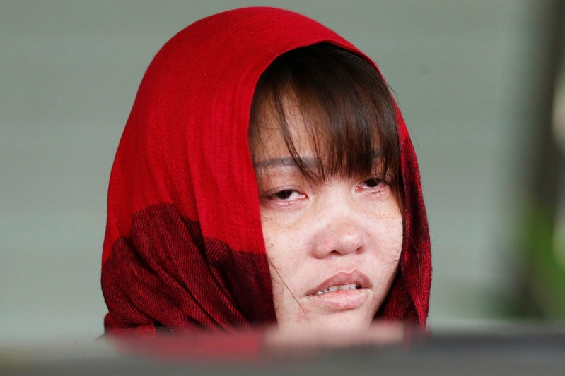 FILE PHOTO: Vietnamese Doan Thi Huong reacts as she leaves the Shah Alam High Court on the outskirts of Kuala Lumpur