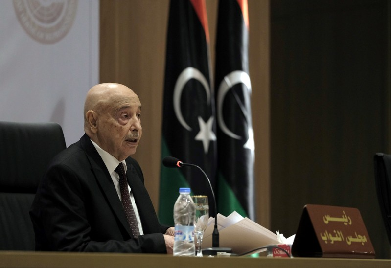 Aguila Saleh, Libya's parliament president, speaks during the first session at parliament headquarters in Benghazi