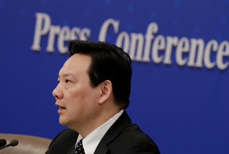 Chen Yulu, vice governor of the PBOC, attends a news conference during ongoing session of the NPC in Beijing
