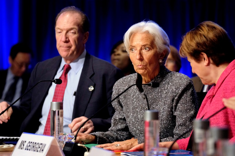 World Bank Group President David Malpass and IMF Managing Director Christine Lagarde at the IMF and World Bank's 2019 Annual Spring Meetings, in Washington