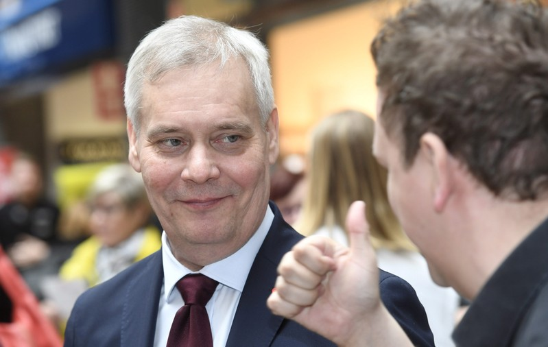 Social Democratic Party Chairman Antti Rinne campaigns for the Finnish  parliamentary elections in Espoo