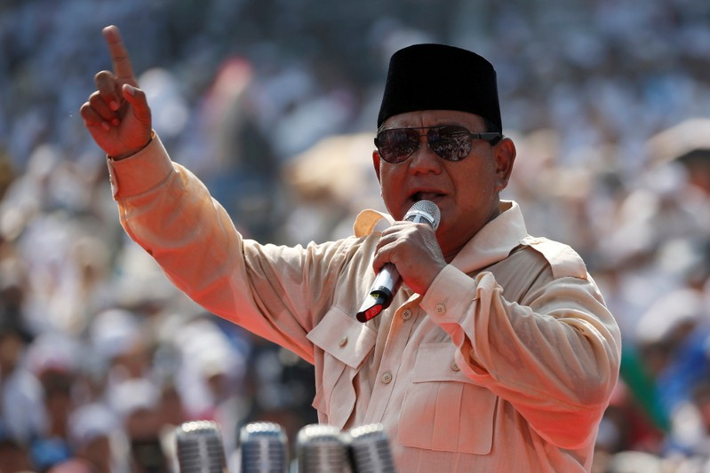 FILE PHOTO: Indonesia's presidential candidate Prabowo Subianto speaks during a campaign rally with his running mate Sandiaga Uno at Gelora Bung Karno Main Stadium in Jakarta