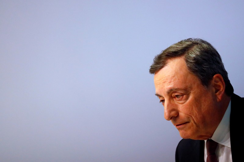 Mario Draghi, President of the European Central Bank (ECB) holds a news conference on the outcome of the Governing Council meeting at the ECB headquarters in Frankfurt