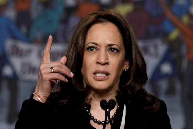 FILE PHOTO: Senator Kamala Harris speaks at NABTU legislative conference in Washington