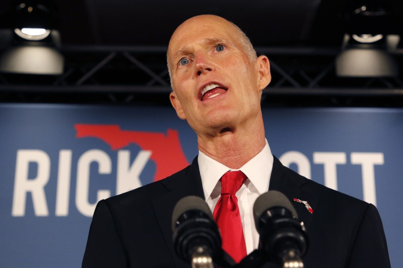 FILE PHOTO: Republican U.S. Senate candidate Scott speaks at his midterm election night party in Naples, Florida