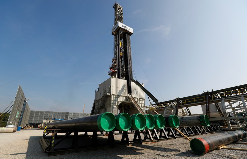 FILE PHOTO: A drilling rig of Austria's oil and gas group OMV is seen near Maustrenk