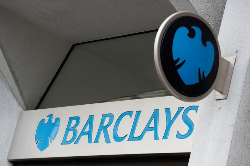 FILE PHOTO: A Barclays sign outside one of the bank's London branches