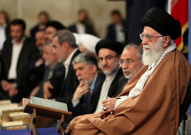 Supreme Leader Ayatollah Ali Khamenei delivers a speech during a religious ceremony in Tehran