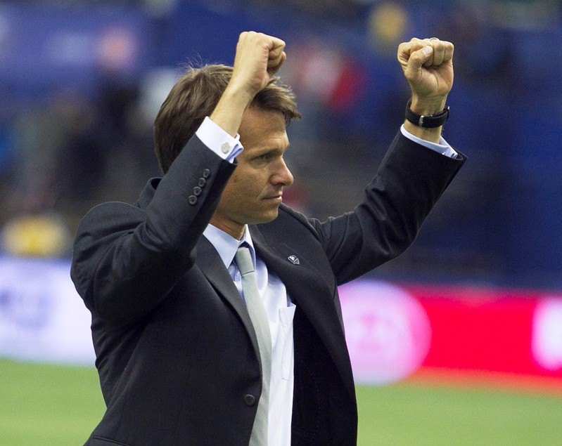 FILE PHOTO: Montreal Impact's head coach Marsch celebrates win following the second half of their MLS soccer match against Toronto FC in Montreal