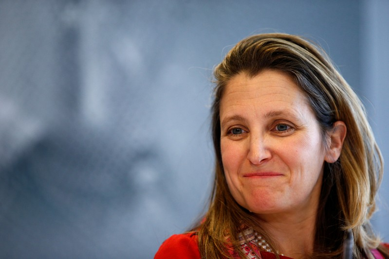 FILE PHOTO: Canada's Foreign Minister Chrystia Freeland attends a news conference on media freedom as part of the G7 Foreign Ministers' meeting in Dinard
