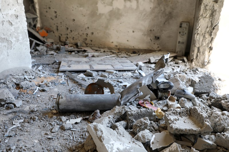 The inside of a house damaged by shelling during the fighting between the eastern forces and internationally recognized government is pictured in Abu Salim in Tripoli