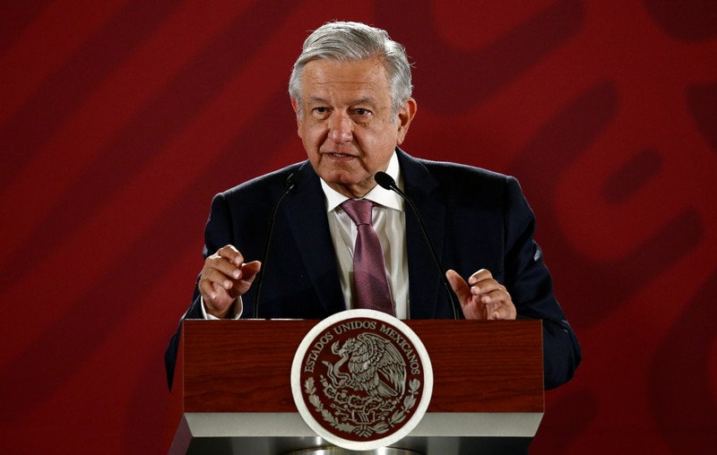 Mexico's President Obrador speaks during a news conference in Mexico City