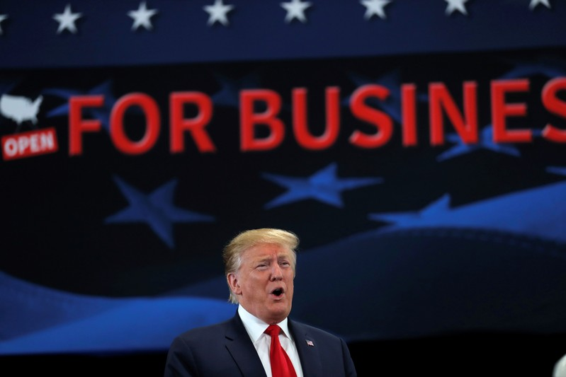 U.S. President Trump visits Nuss Truck & Equipment in Burnsville, Minnesota