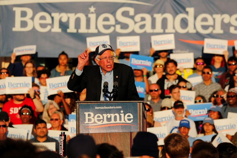 Democratic U.S. 2020 presidential candidate Bernie Sanders holds an evening public rally along the waterfront in downtown San Diego, California