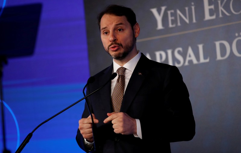 FILE PHOTO: Turkish Treasury and Finance Minister Berat Albayrak attends a news conference in Istanbul