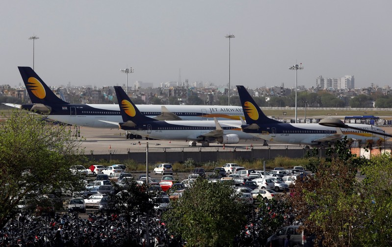 FILE PHOTO: Jet Airways aircrafts are seen parked at the Indira Gandhi International Airport in New Delhi