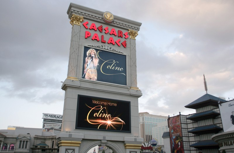 The marquee sign at Caesars Palace in Las Vegas