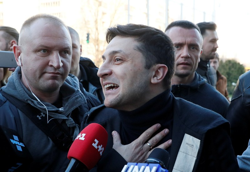 FILE PHOTO: Ukrainian presidential candidate and comedian Volodymyr Zelenskiy speaks with journalists before undergoing a drugs and alcohol test in Kiev