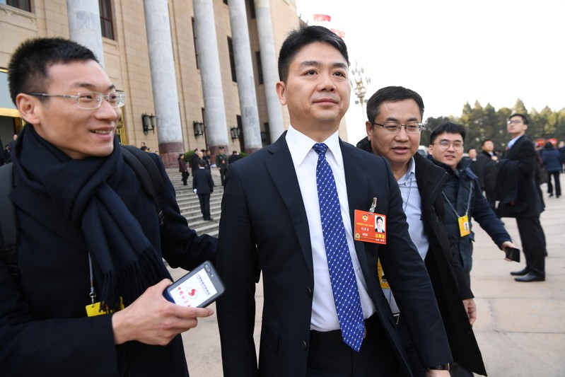 FILE PHOTO: Richard Liu, founder and CEO of JD.com, leaves Great Hall of the People after NPC session in Beijing
