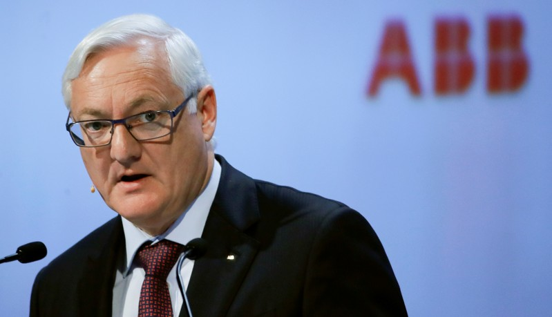 FILE PHOTO: Chairman Voser of Swiss power technology and automation group ABB addresses annual shareholder meeting in Zurich