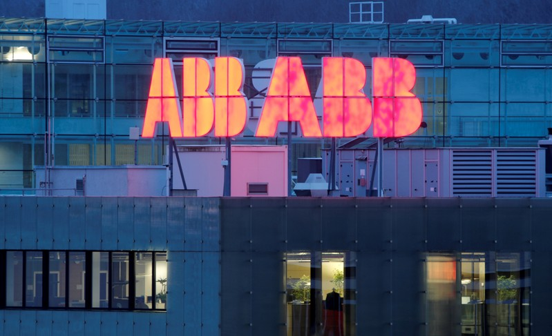 FILE PHOTO: Logo of Swiss power technology and automation group ABB is seen in Baden