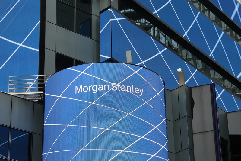The corporate logo of financial firm Morgan Stanley is pictured on the company's world headquarters in New York
