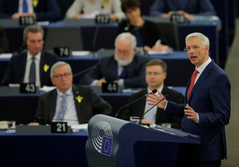 Latvian Prime Minister Krisjanis Karins delivers a speech during a debate on the future of Europe, at the European Parliament in Strasbourg