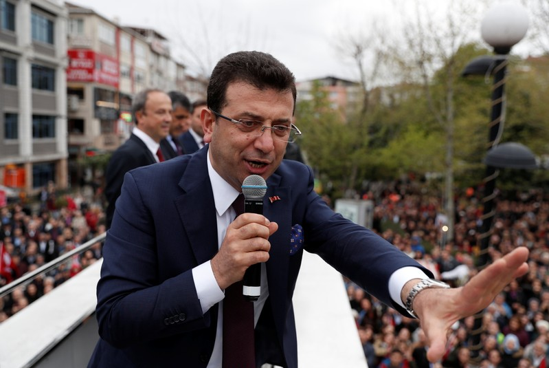 Ekrem Imamoglu, main opposition CHP mayoral candidate, addresses his supporters during a gathering in Istanbul
