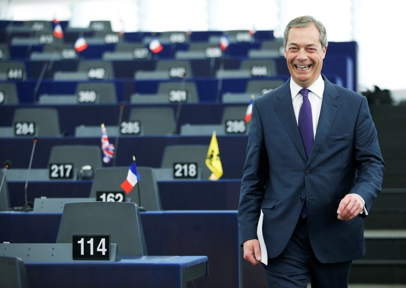 Brexit campaigner and Member of the European Parliament Nigel Farage arrives to attend a debate on the outcome of the latest European Summit on Brexit, at the European Parliament in Strasbourg