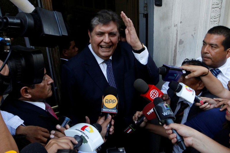 FILE PHOTO: Former president of Peru Alan Garcia arrives to the National Prosecution office to testify in Odebrecht case in Lima