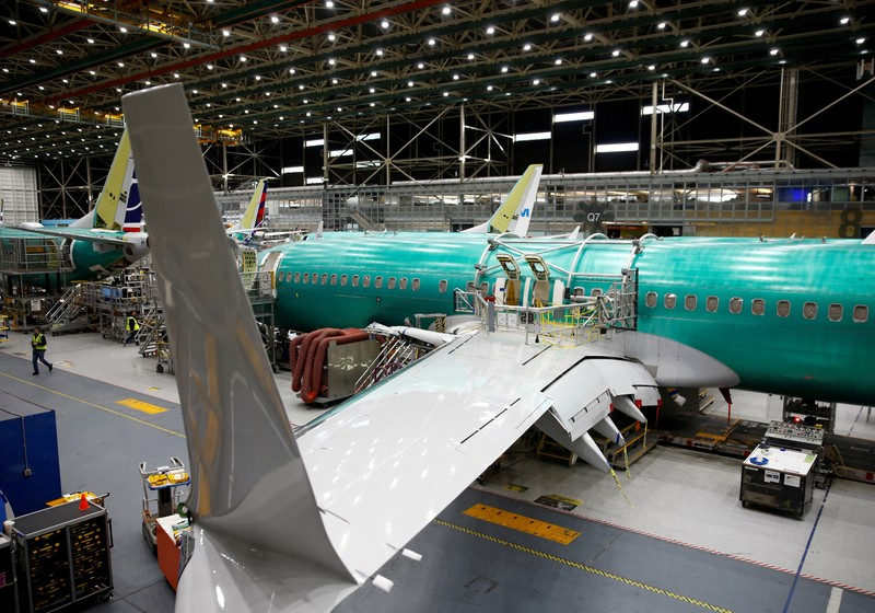 A 737 Max aircraft is pictured at the Boeing factory in Renton