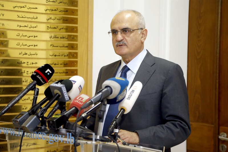 FILE PHOTO: Lebanese Finance Minister Ali Hassan Khalil holds news briefing in Beirut