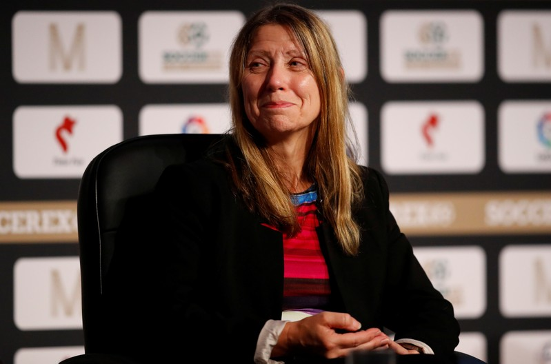 FILE PHOTO: Michele Verroken, founding director of Sporting Integrity sports business consultancy smiles during a discussion on doping in football at the Soccerex Global Convention in Manchester, Britain