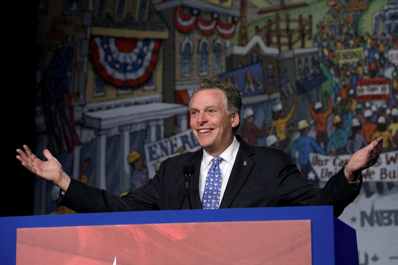 FILE PHOTO: Terry McAuliffe speaks at NABTU legislative conference in Washington