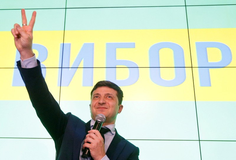 FILE PHOTO: Candidate Zelenskiy speaks following the announcement of the first exit poll in Ukraine's presidential election in Kiev