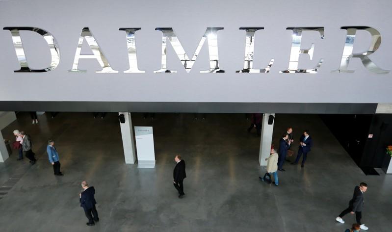 The Daimler logo is seen before the Daimler annual shareholder meeting in Berlin,