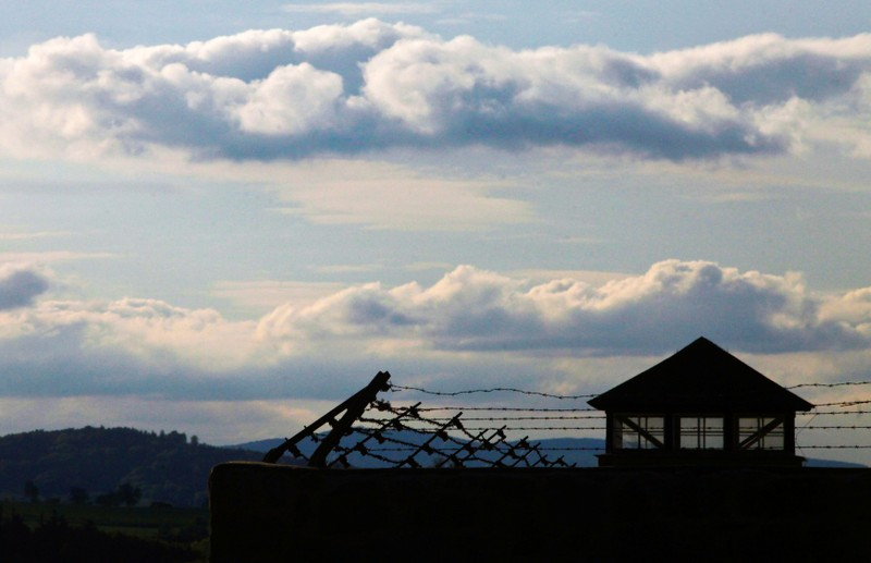 FILE PHOTO: A watch tower is pictured at the former Austrian Nazi concentration camp in Mauthausen