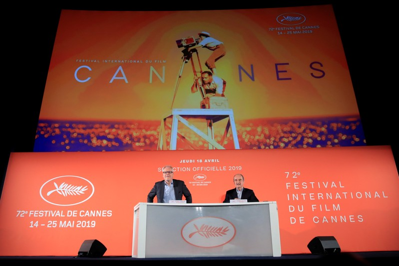 Cannes Film festival general delegate Fremaux and Cannes Film festival president Lescure attend a news conference to announce the official selection for the 72nd Cannes International Film Festival in Paris