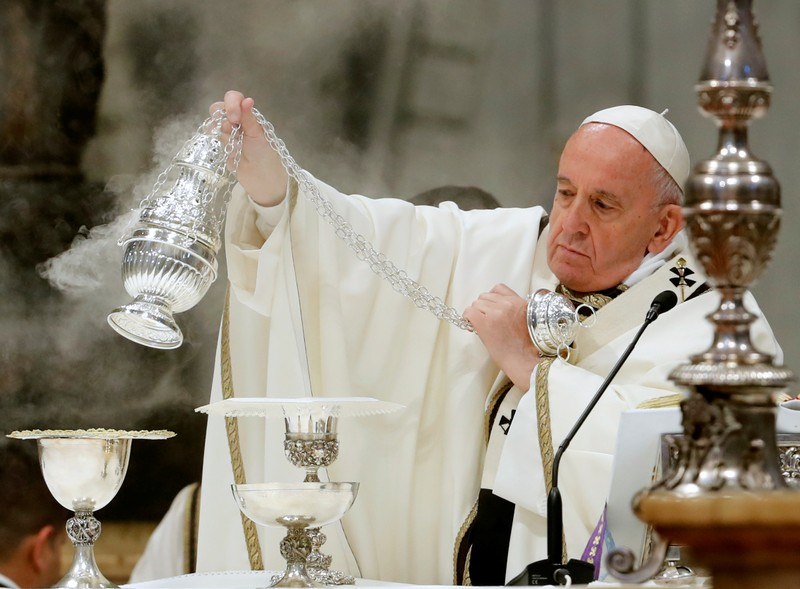 Pope Francis holds a Mass on Holy Thursday