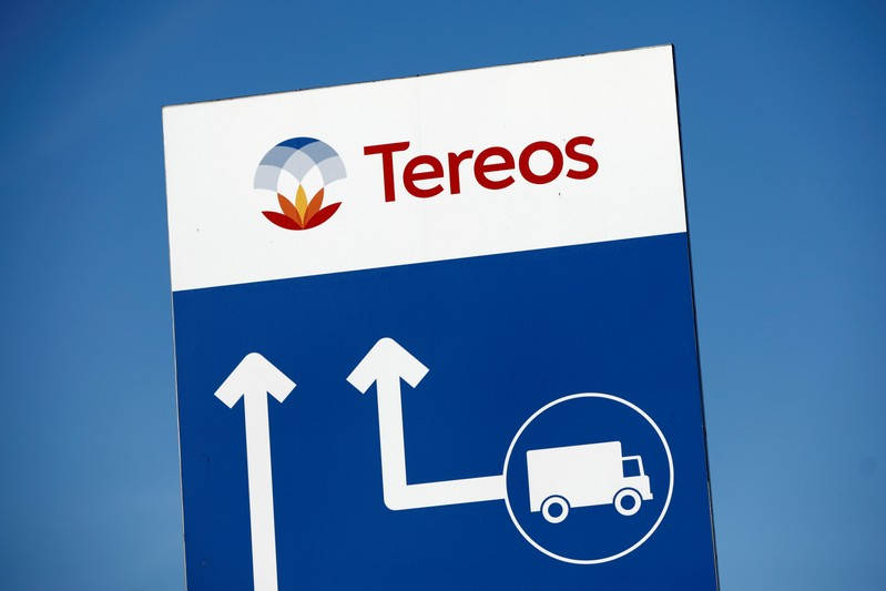 FILE PHOTO: The Tereos logo is displayed at a sugar beet processing plant in Origny-Sainte-Benoite