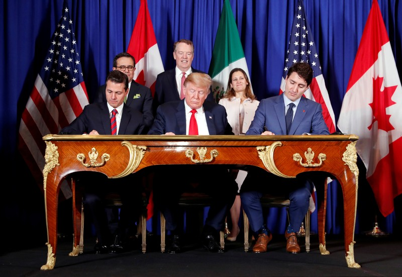 FILE PHOTO: USMCA signing ceremony at the G20 in Buenos Aires
