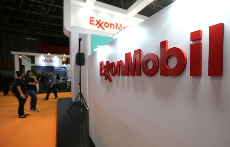 Logo of the Exxon Mobil Corp is seen at the Rio Oil and Gas Expo and Conference in Rio de Janeiro