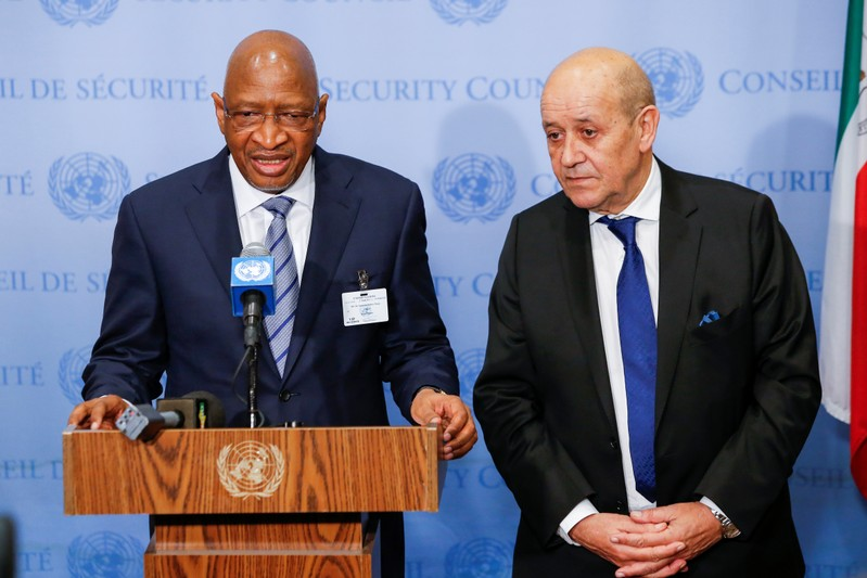 Boubeye Maiga, Prime Minister of the Republic of Mali speaks to media next to Le Drian, Minister for Europe and Foreign Affairs of France at U.N. headquarters in New York