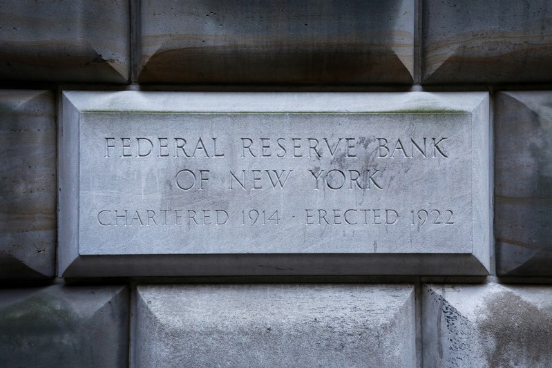 The corner stone on the Federal Reserve Bank of New York in the financial district in New York
