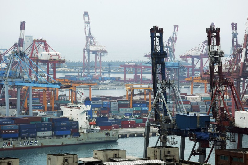 FILE PHOTO: Shipping containers are seen at Keelung port, northern Taiwan,