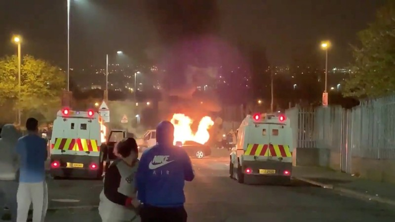Rioters clash with emergency vehicles in Londonderry, Northern Ireland