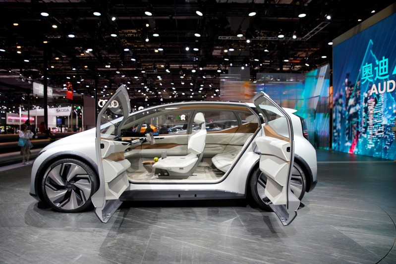 The interior of the Audi's new concept AI: ME with automated driving system is seen during the media day for Shanghai auto show