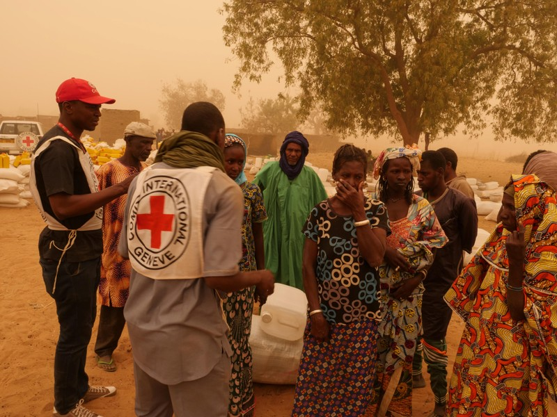 Villagers are seen following the March 23 attack by militiamen, in Ogossagou Village