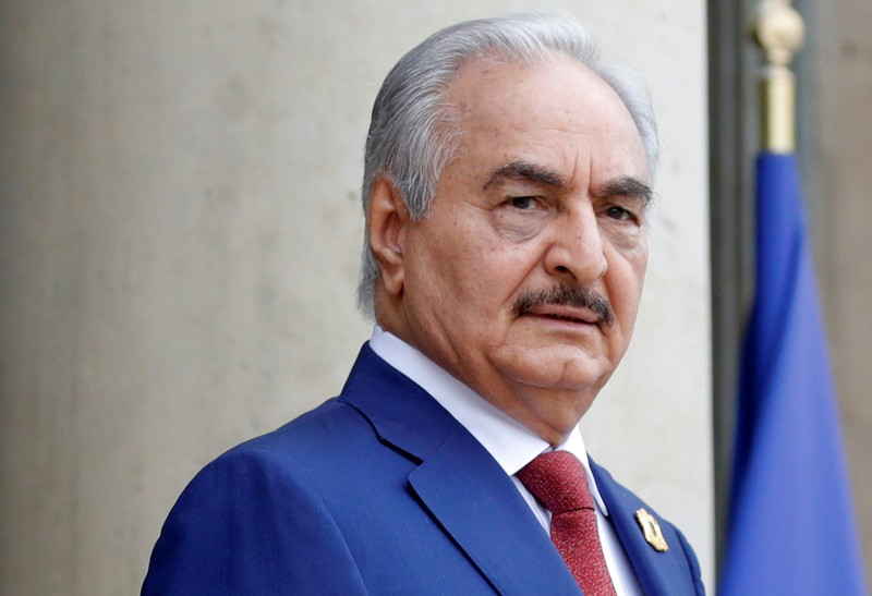 FILE PHOTO: Khalifa Haftar, the military commander who dominates eastern Libya, arrives to attend an international conference on Libya at the Elysee Palace in Paris