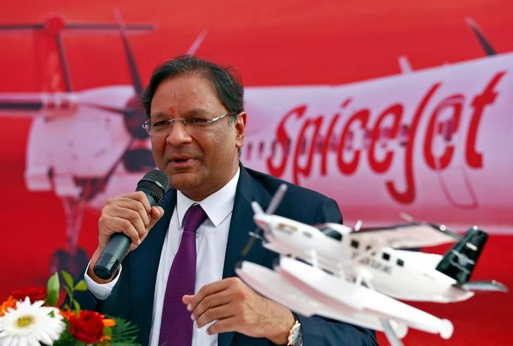 Ajay Singh, Chairman of Indian low-cost carrier SpiceJet, speaks with the media before the landing of an amphibious seaplane from Japan's Setouchi Holdings in the Arabian Sea as part of a demonstration by SpiceJet in Mumbai